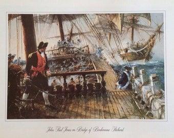 John Paul Jones On Bridge Of Bonhomme Richard Print