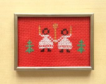 Vintage Christmas Cross Stitch Angels Framed Decoration Seasonal Decor December Gift