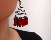 Red Coral Sticks Dangle  Vintage Bronze Swirl Wire Earrings - Tribal Style Earrings