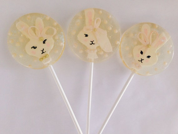3 Cotton Candy Flavored Hand Painted Fondant Fancy Bunny Easter Lollipops