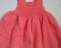 Bright Pink Jumper Dress with Kitten Buttons – Hand Knit – size 3/6 mos