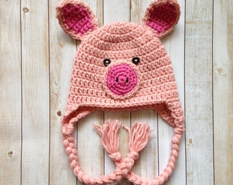 Crochet Pig Hat - made to order