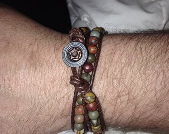 Handmade men's leather and jasper wrap bracelet custom made to order
