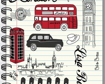Personalized Notebooks - I Love London - Customized with a name.