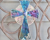 Stained glass cross in purple, Easter christian wall hanging suncatcher, religious art, mother's day gift, home decor, christening gift.