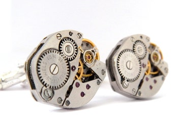 Vintage Watch Movements Cufflinks. Fathers Day / Wedding / Best Man. Silver Steampunk Cuff Links.