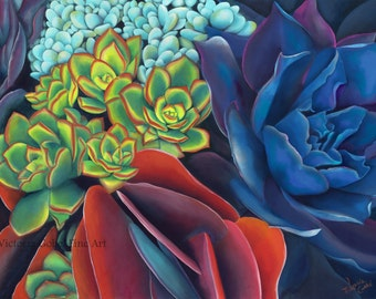 Original Acrylic Succulent Painting - Succulent VII - By Victoria Gobel - Giclee on Watercolor Paper