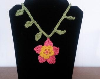 Handmade Crochet Flower Necklace, Coral Pink and Yellow Crochet Necklace, Fibre Necklace