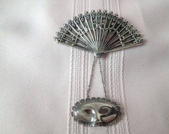 Vintage Sterling Lang Fan and Mask Brooch Masquerade