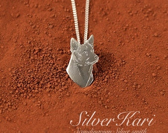 Australian Kelpie, necklace in sterling silver