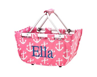 Monogrammed SMALL Market Totes - Pink or Navy w/White Anchors