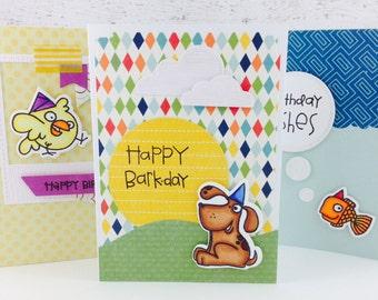 Funny Animal Birthday Greeting Cards Set of 3
