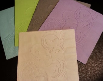 1 Dozen Butterfly Embossed Paper Napkins in 24 Colours