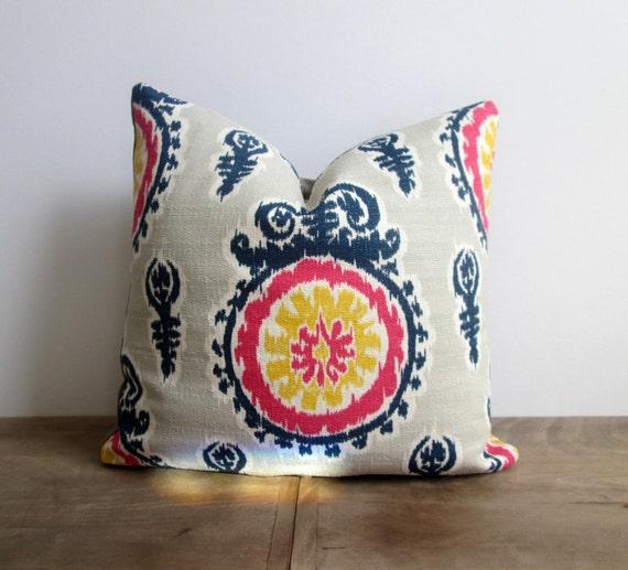 Ikat Throw Pillows Etsy : Navy/Pink Ikat Throw Pillow