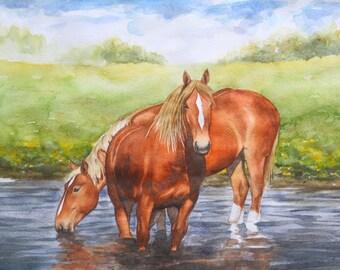 Original watercolor painting Horses in Mulalo