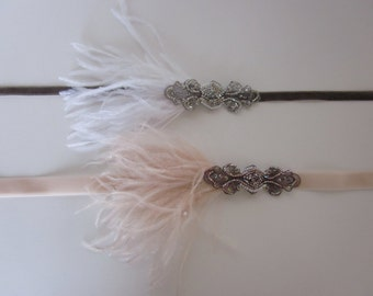 Silver Flapper Dress Headband White Feather Pearls or French Champagne Silver Gray Beading