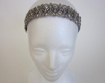 Silver Gray 1920s Flapper Headband 20s Headband Great Gatsby Headband Roaring 20s Headpiece