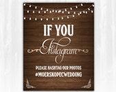 Instagram Wedding Sign DIY PRINTABLE Digital File Printable Wedding Sign String Light Wedding Sign Wood Wedding Sign Instagram Wedding Sign