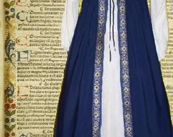 FREE SHIP SCA Garb Medieval Renaissance Gown Front-Lacing Irish Style Navy Blue Floral Size Flex lxl