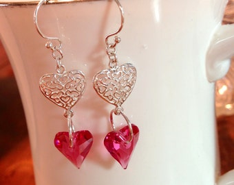 Swarovski Crystal Rose Pink Heart and Sterling Silver Heart Dangle Earrings - Valentine's Day Delight
