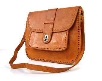 French vintage genuine leather satchel purse. Hand made.  Ipad. Tablet. Rustic bohemian chic.