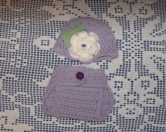 Newborn to 3 months Hat and Diaper Cover Set