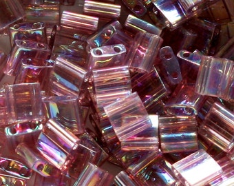 Miyuki Transparent Smoky Amethyst AB Tila Bead TL-256 Japanese 2-Hole Square - 10 grams