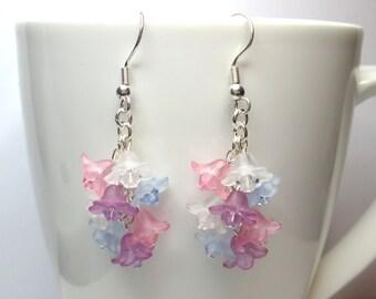 Pastel cascade floral earrings, flower earrings, crystal flower, floral earrings, swarovski earrings, summer earrings, ER024