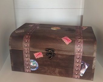 Wooden suitcase inspired box.