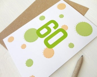 60th birthday card Happy birthday gift 60 years old card green orange dots circles