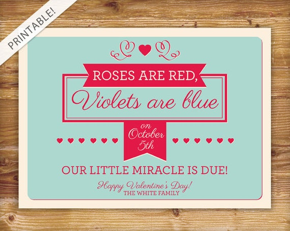 Items similar to Valentines Day Pregnancy Announcement – Baby Announcement Poem