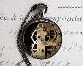 Steampunk Necklace, Clock Gear Necklace, Clock Jewelry, Gear Necklace, Industrial Necklace, Pendant Necklace