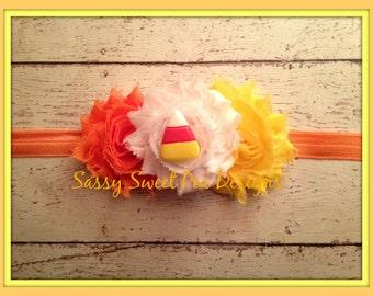 Candy Corn Shabby Flower Headband...Halloween,Fall Shabby Headband...Newborn, Baby, Girls Photo Prop Bow