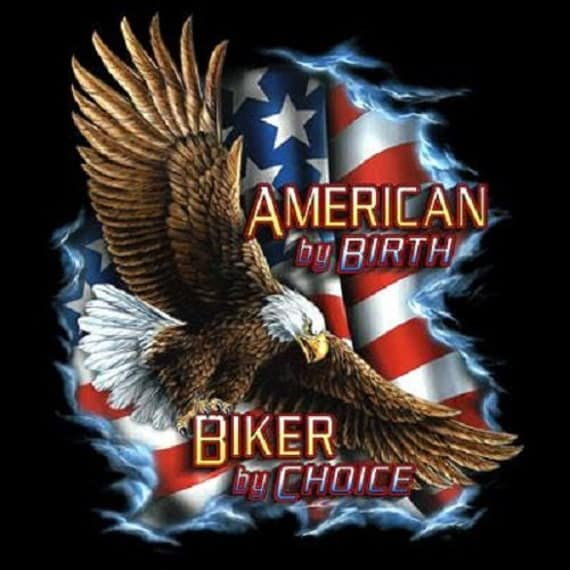 American By Birth Biker By Choice Patriotic Us Flag T Shirt
