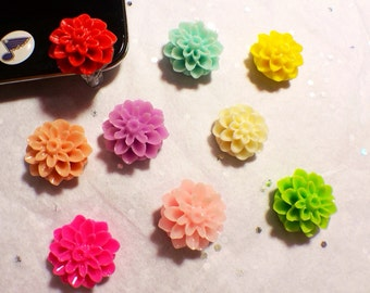 Choose your color-- Front-Mounted Dahlia cell phone charm, dust plug charm, shower favor