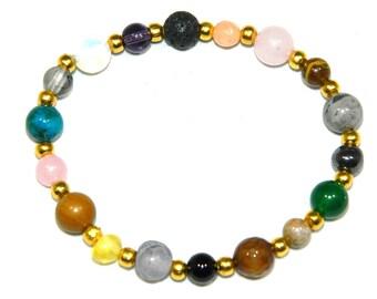 C-0167 - Mixed Gemstone Bead Bracelet with Alloy Spacer Beads Handmade
