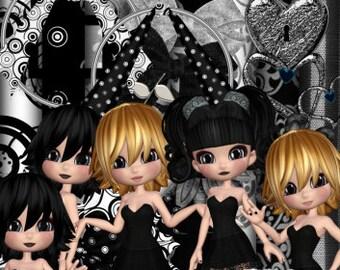 DIGITAL SCRAP KIT - Black & White Girls 2