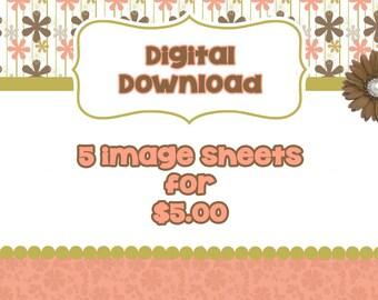 DIGITAL DOWNLOAD Bottle Cap Image Sheets- Pick 5