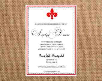 wedding invitations Fleur de lis  wedding invite