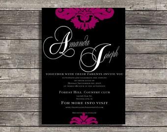 wedding invitations black and pink fuscia damask