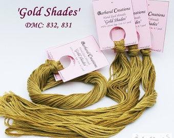 Hand dyed cotton embroidery thread for cross stitch, point de croix, hardanger - 'Gold Shades'