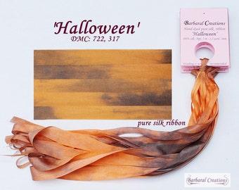 Hand dyed 2 mm wide pure silk ribbon, ruban de soie - 'Halloween'