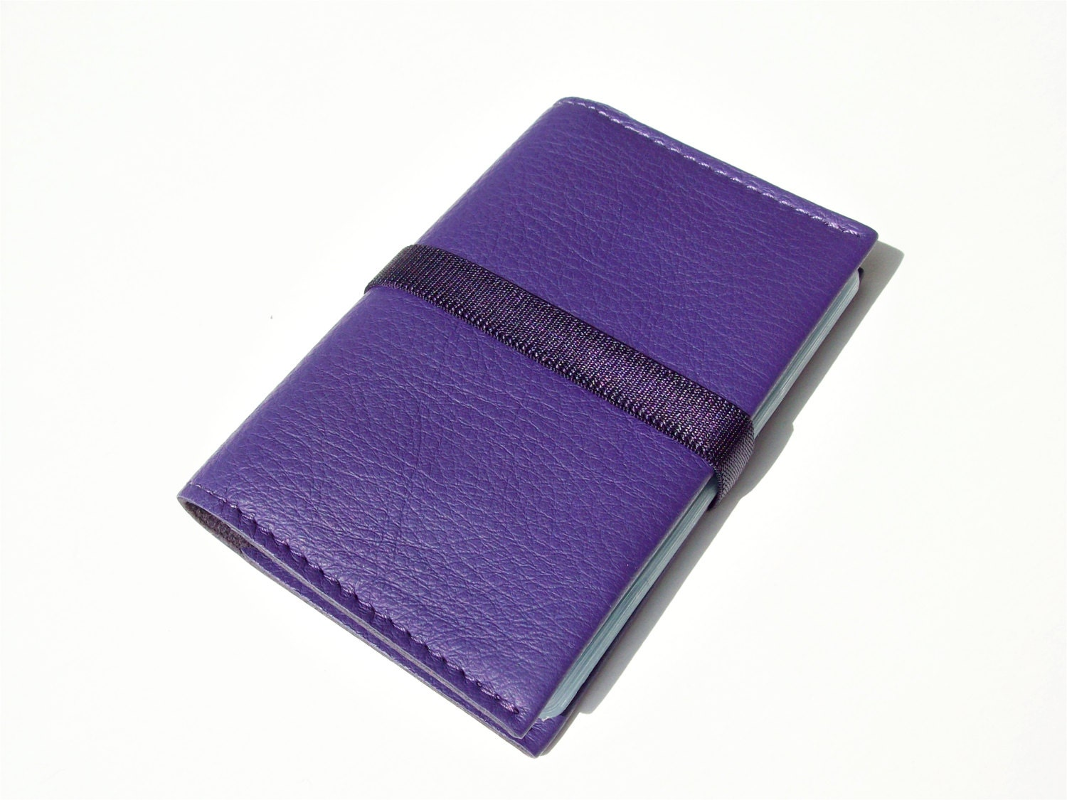 Blue Purple Leather Business Card Holder by