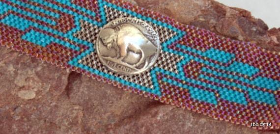 Peyote Beaded Bracelet - Buffalo Nickel Accent  - Southwestern Beaded Bracelet - Beadwoven Cuff
