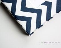 Free shipping. MODERN Baby Book // Navy Chevron Cover *// baby book. baby keepsake. memory book. baby shower gift