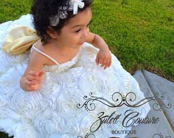Baptism Dress - Mini Bride Dress - Flower Girl Dress - Rosette Dress -  Big Bow Dress - Wedding Dress - Sunday Rose by Zulett Couture