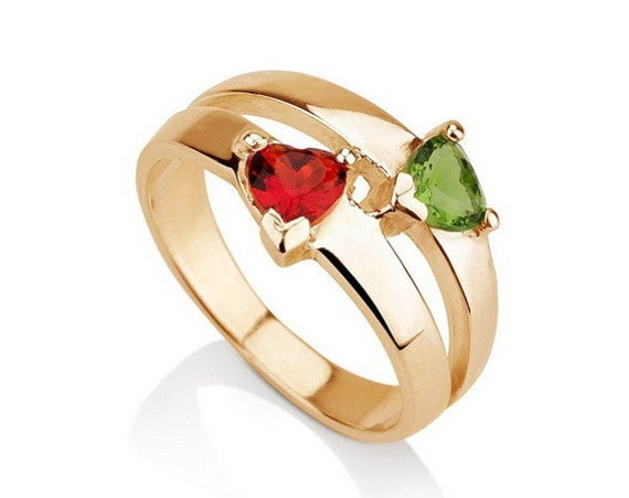 Items similar to Promise Ring Couples Birthstone Ring Gold ...