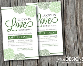 Lucky in Love Bridal Shower Invitation (Customized Content for DIY Printing)