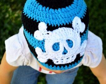 Pirate hat / striped Skull Beanie / Pirate Costume Accessory / Biker style / Punk Rocker Fashion