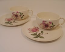 SALE! Crooksville China Rose Teacups and Plates, Set of 2, Cottage Chic Tea Party Snack Set for Two Shabby Roses